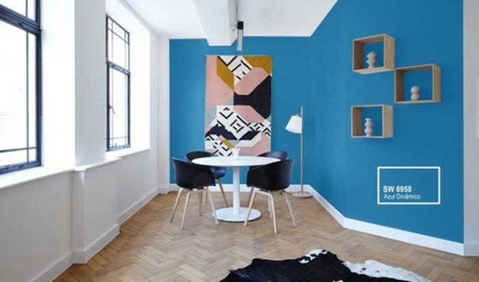 cores da Copa: sala pintada com a cor azul dinâmico